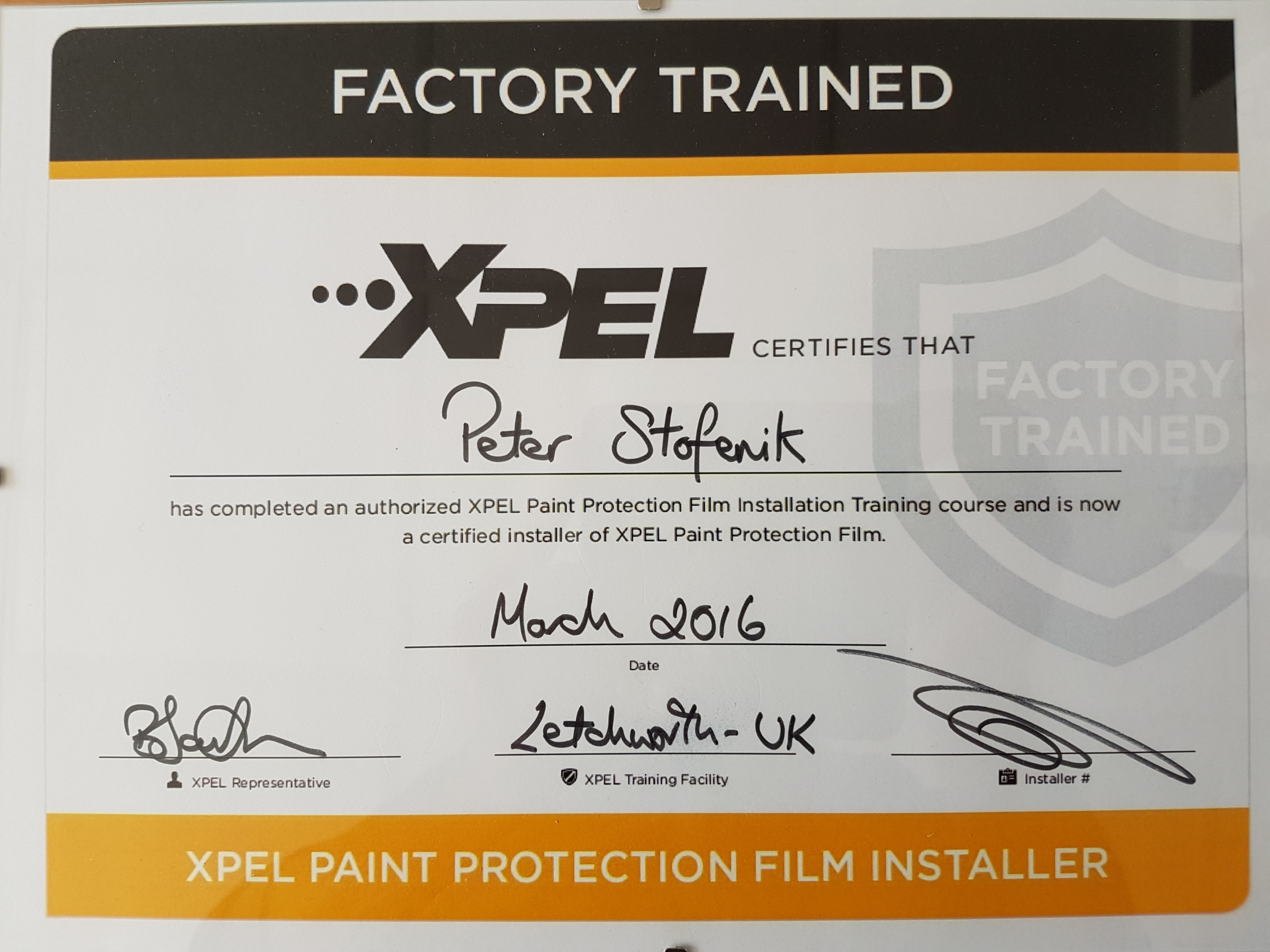 Factory trained Certifikat Xpel